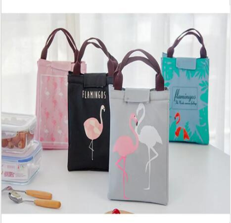 Flamingo Print Thermal Bag Waterproof Lunch Bags Portable Insulated Oxford Tote Food Picnic Lunch Bags