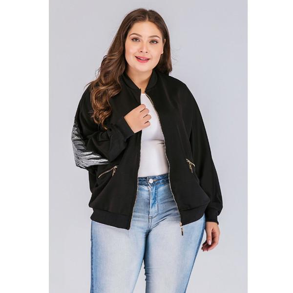 diseñador de moda de grasa MM 2019 mujeres de gran tamaño cortó nuevo cuello redondo de manga larga de lentejuelas cremallera chaqueta de la chaqueta