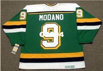 Erkekler # 9 MIKE MODANO Minnesota Kuzey Yıldız 1991 CCM Vintage RETRO Vintage Ev Hokeyi Forması veya özel herhangi bir isim veya numara retro Jersey