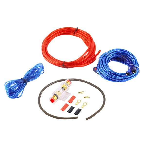 Car Audio Wire Wiring Amplifier Subwoofer Speaker Installation Kit 8GA Power Cable 60 AMP Fuse Holder 1500W