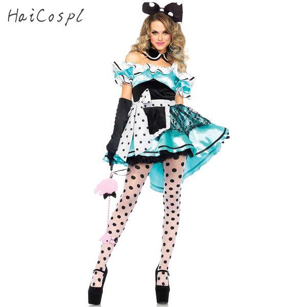Mädchenkleid Halloween Sexy Kleid Frauen Mädchen Alice im Wunderland Cosplay Kostüme Schulterfrei Dot Party Fancy Maid Kleider