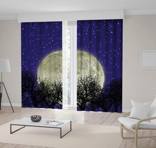Star Covered Night Sky with Super Full Moon Tree Branches Silhouette Navy Blue Black Landscape View Printed Curtain