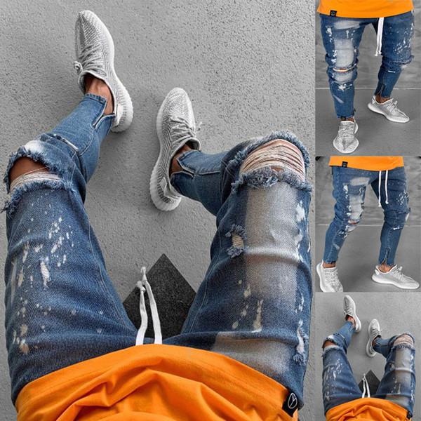 Mens Motociclista Representar Jeans Slim Fit Buracos Rasgador Zíper Designer Calças Lápis Kanye Estilo Jeans
