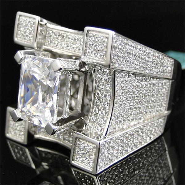 New Men Women Fashion Jewelry Princess Cut 2CT White Sapphire Diamond Cz 925 Sterling Silver Engagement Wedding Band Ring Size 6 - 12