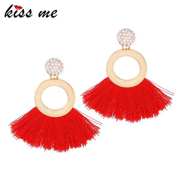 Women Earrings Latest Alloy Round Red & Blue Fringe Tassel Big Drop Earrings Fashion Jewelry
