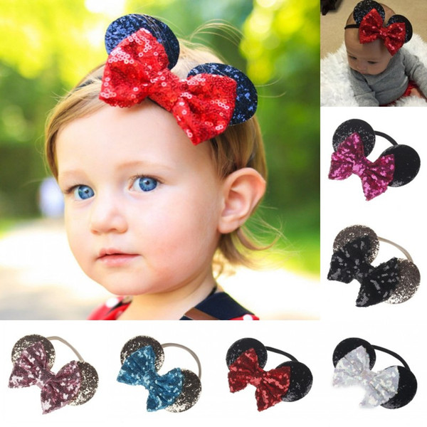 For Baby Hair Hoop Lovely With Elastic Belt Head Band Mouse Ear Shaped Sequins Headbands High Quality 3 2np BB