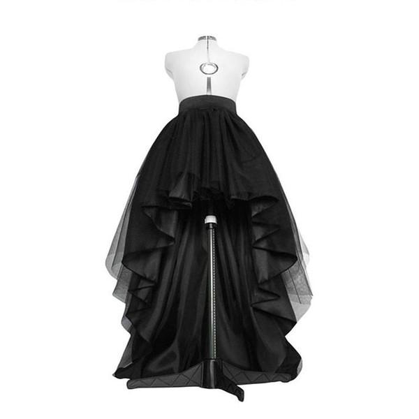 High Low Black Tulle Skirt Asymmetrial Hem Tutu Layered Wedding Bridal Gown High Waist Pleated Prom Skirt Gala Stylish Saia J190619