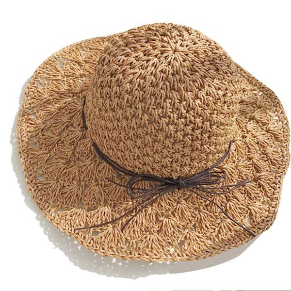 2019 new hot sale comfortable casual new handmade straw hat female wild small fresh beach big beach sunscreen sunshade outdoor