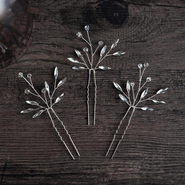 3pcs/lot 2019 New Style Silver Wedding Bridal U Clip Crystal Rhinestone Hairpins Tiaras Clip & Pin Hair Accessories Headpiece Prom Jewelrys