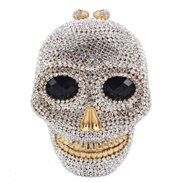 Dgrain Cristal Bolsa de Noite Clutch Bag Designer de Crânio Mulheres Caixa de Metal Minaudiere Festa de Casamento Jantar Diamante Bolsa Artesanal Saco de Noite