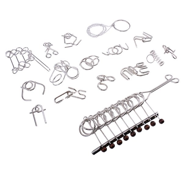 best selling 16 Sets Metal Wire Ring Brain Teaser Toys 9 Linked Rings Puzzle Classic Intelligence Toys for Chidren Adult
