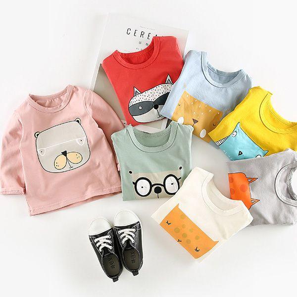 kids girls boys spring autumn t shirts baby cartoon printed cotton t-shirt children casual white yellow red grey clothing 1-3T