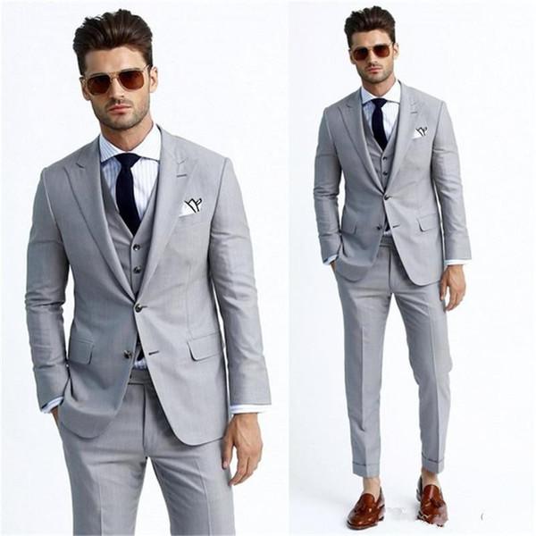 New Two Buttons Light Grey Groom Tuxedos Peak Lapel Groomsmen Mens Wedding Business Prom Suits (Jacket+Pants+Vest+Tie) 652