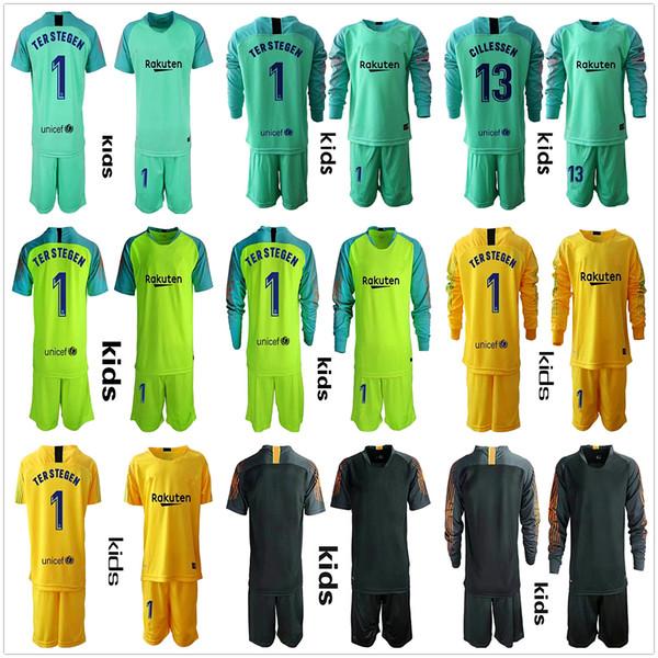 312492e561b5e 2018 2019 Jeunes Long Ter Stegen maillots de gardien de but Kids Kit Soccer  Sets #