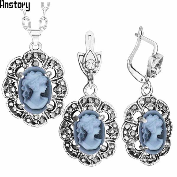Fashion Sets Vintage Lady Queen Cameo Jewelry Sets Plumflower Pendant Rhinestone Fashion Jewelry TS431
