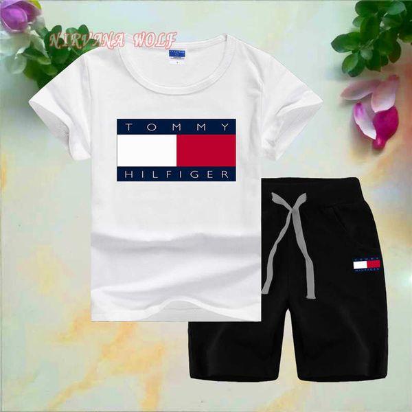 T0MMYLogo Luxury Designer Toddler Summer Kids Baby Boy Set de algodón Camiseta de manga corta Camiseta Tops Pantalones cortos Pantalones 2PCS Conjunto de trajes