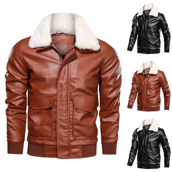 Homens Preto Brown Casaco de Inverno Bomber Jacket homens inverno jaqueta de couro Brasão Biker Motorcycle Zipper Top manga comprida Blusas M-4XL