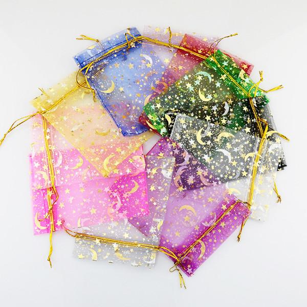 L'oro Bronzing Moon Star Organza Bags 9x12cm Piccolo Natale con cordoncino sacchetto del regalo dei monili di fascino Packaging Borse Sacchetti