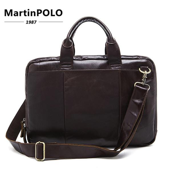 Briefcase Male Messenger Bag men's Genuine Leather Bag for Document Men Shoulder travel Handbags satchel laptop 14 inch MLT8902