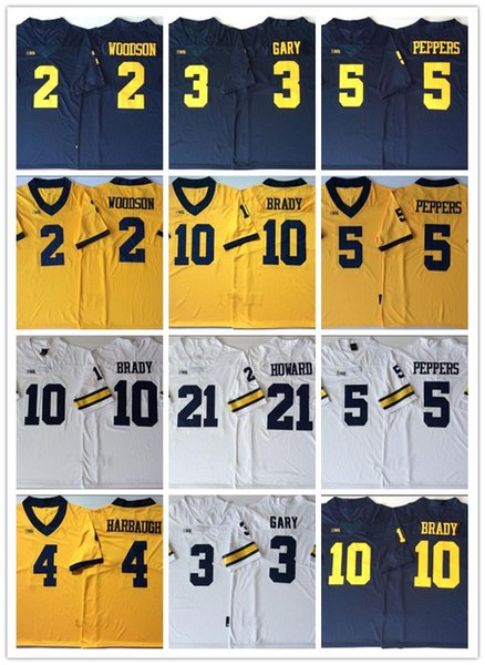 Mens College Michigan Wolverines Rashan Gary 21 Desmond Howard 10 Tom Brady 4 Jim Harbaugh Charles Woodson Maillot de football Jabrill Peppers