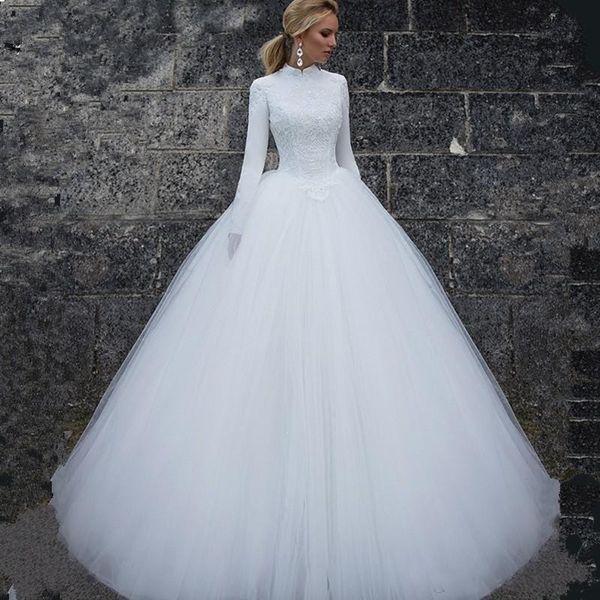 2020 elegante alta neck muçulmano lace tulle vestidos de casamento mangas compridas simples vestidos de noiva custom made vestidos de casamento longo