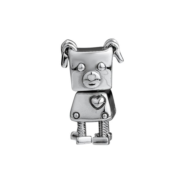 Bobby Bot Hanging Silver Charms for Jewelry Making 2018 Winter Silver 925 Jewelry DIY Robot Pet Dog Charms for Women Bracelets