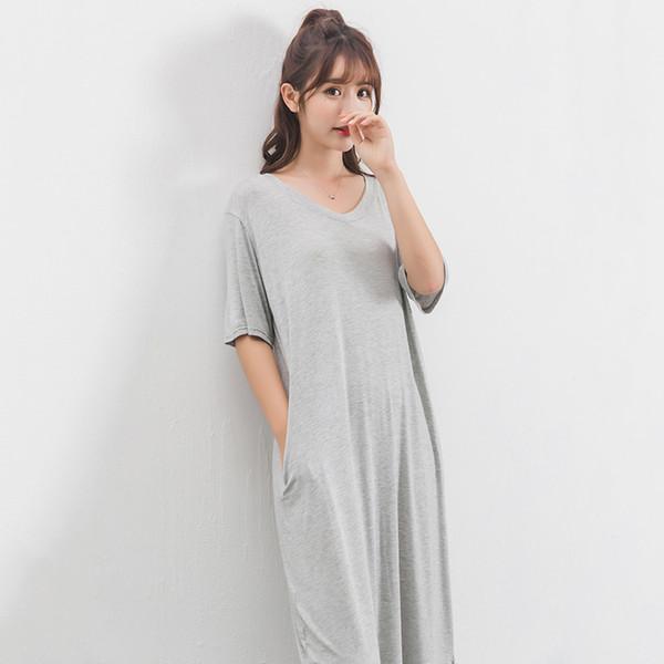 Fashion Women Loose Modal Dress V Neck Short Sleeve Side Pocket Mid-calf Ladies Dresses Split Large Size Summer Dress 2019