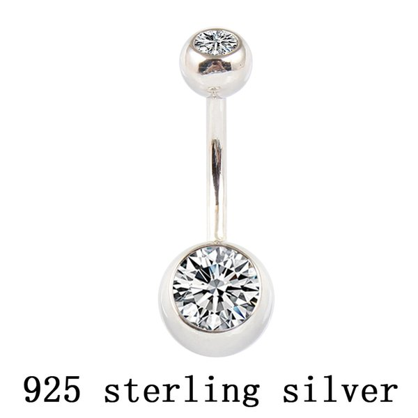 Real 925 sterling silver belly button ring clear double zircon body jewelry ball navel bar piercing jewelry free shipping CJ191116