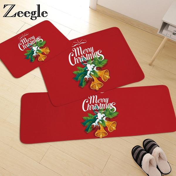 Zeegle Christmas Kitchen Floor Mats Carpet Kids Room Living Room Rug Home Decor Doormat Bathroom Mat Bedroom Carpet Bedside Rugs Outdoor Replacement