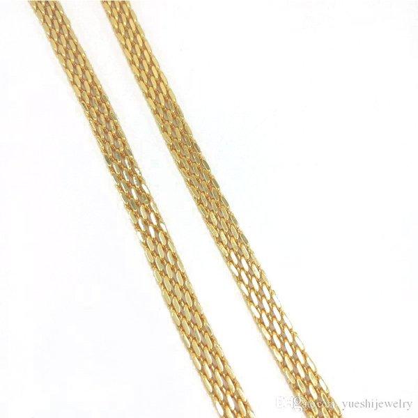 Örgü Zincir Kolye Moda Erkekler Altın Zincir Gerdanlık Kolye Paslanmaz Çelik Düz Zincir Takı Erkekler Hediye Için YS73