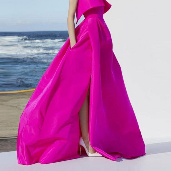great discount sale casual shoes choose original 2019 Dynamic Fuchsia Long Skirts For Wedding Party Zipper Style Maxi Skirt  For Women Custom Made High Quality Slit Skirts Pockets From Lightlight, ...