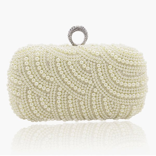 2019 100% Hand Made Pearl Clutch Wallets Women Purse Diamond Chain White Evening Bags For Party Wedding S001