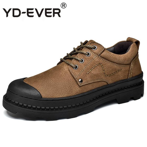 YD-EVER 2018 Spring Genuine Leather Men Oxfords Nubuck leather Men Casual Shoes Lace-Up Flats Shoes Top Quality business