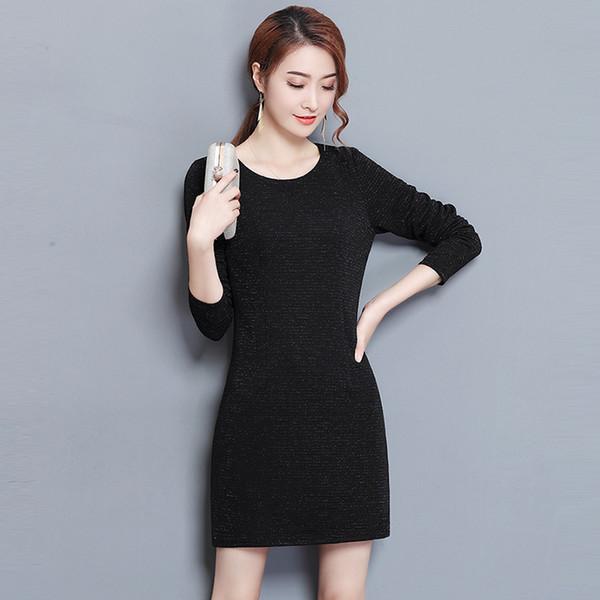 Vestidos de punto gruesos de invierno Más el tamaño 3xl Manga larga O-cuello Vestido cálido Primavera Moda delgada Vestidos de punto negros Re0307