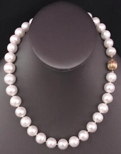 classic 10-11mm south sea round white pearl necklace 18inch 925s