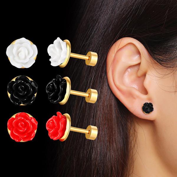 Rose orecchini Red Colorful 3D delle donne di fascino della vite prigioniera intagliato ragazze Lady promenade di nozze Orecchini in acciaio inox Fiore