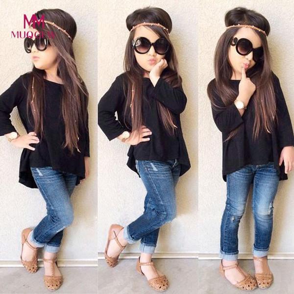 Kleinkind Baby Kinder Mädchen Kleidung Outfit Langarm Oansatz T-shirt Tops + Reißverschluss Tasche Lange Jeans Hosen 1 satz Baby Mädchen Kleidung Y190522