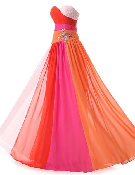 Sweetheart Neck Prom Dresses vestidos de Noiva Bbeaded Crystals Evening Dress Chiffon Fabric Back Design Lace Up