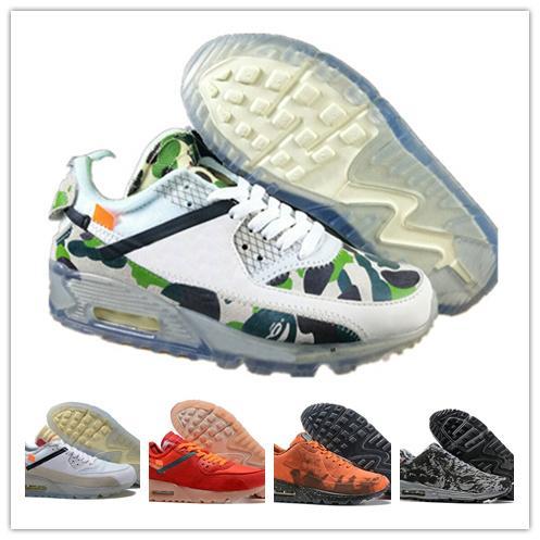 2019 homens 90 tênis de corrida virgil luxo designer copa do mundo triplo branco preto air off tênis 90 s mens formadores esportes chaussures zapatos