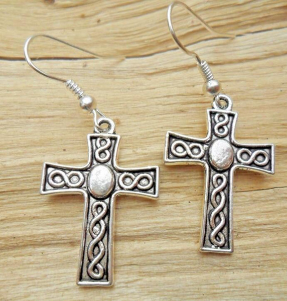 Spiral Cross Tibetan Silver Dangle Earrings Fashion 50 Pair Hook For Women Jewelry Party Drop Friendship Gift Charms Accessories