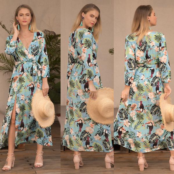 Leave Birds printed boho beach dresses women chic V-neck long sleeve Sashes Belt split dress 2019 new spring summer bohemian holiday dress
