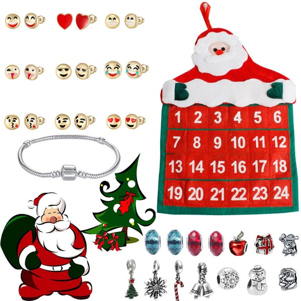 ornaments Jewelry Advent Calendar 2019 24 Day with Bracelet Countdown Christmas Gift merry christmas decoration new year