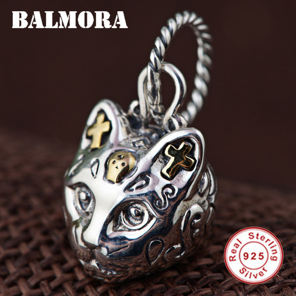 ashion Jewelry Charms BALMORA 100% Real 925 Sterling Silver Jewelry Cat Head & Cross Retro Pendants for Necklaces Women Men Accessories G...