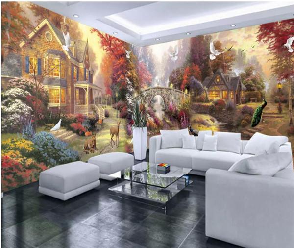 Acheter Papier Peint Pour Les Murs 3d Pour Le Salon Peinture De Jardin Rural Maison Entière Mur Murale Personnalisée De 16 59 Du