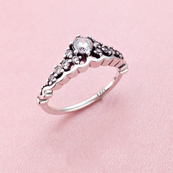 Luxury CZ Diamond Crown finger Ring Set Hallmark Gift Box for Pandora 925 Sterling Silver Women Girls Wedding Ring Fashion Accessories