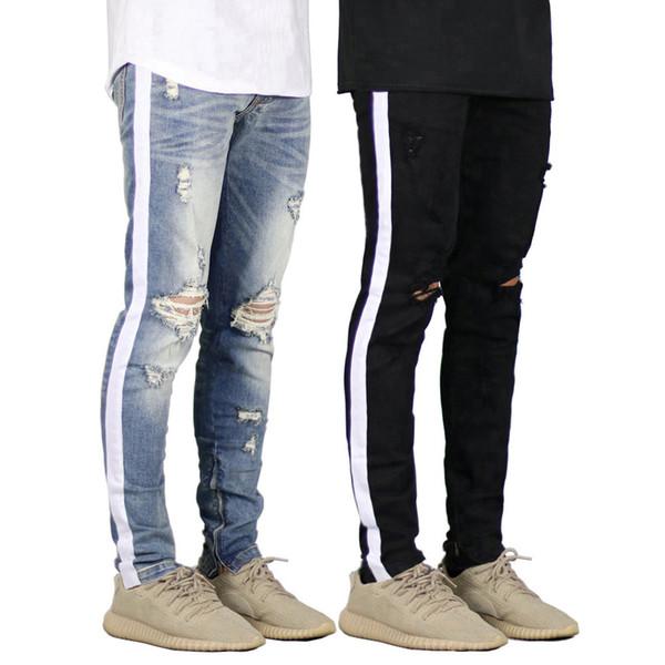 Estilo de la moda de los pantalones vaqueros para hombre de los pantalones vaqueros de diseño Slim Fit 2019 Ripped Jeans Agujeros rodilla High Street rayado blanco para hombre Pantalones vaqueros B100855K