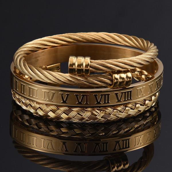 best selling 3pcs Set Roman Numeral Men Bracelet Handmade Stainless Steel Hemp Rope Buckle Open Bangles Pulseira Bileklik Luxury Jewelry