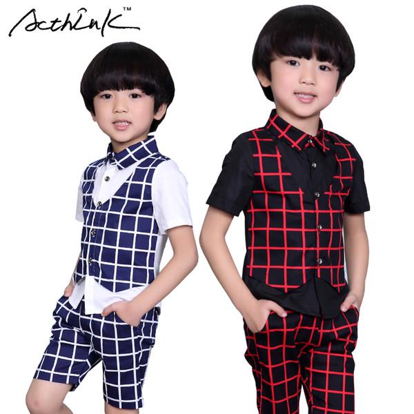 ActhInK 2017 New Boys Summer Formal Plaid Suit Kids 2Pcs Shirt+Shorts Wedding Costume Boys Summer Fashion Performance Suit,AC044