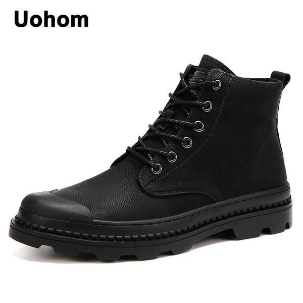 Compre Uohom Otoño Para Hombre Invierno Botas Moto De La Vendimia Hecha A Mano Del Cuero Partido De Los Hombres De Los Zapatos Ocasionales Resbalón