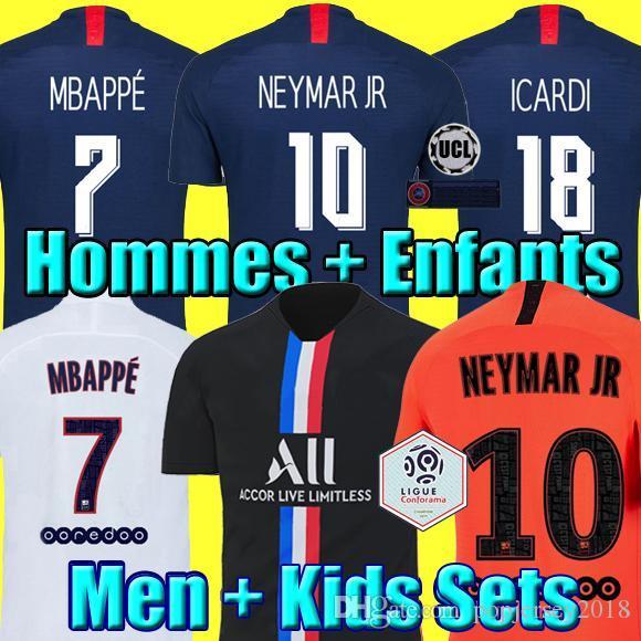 Maillots de football kits 19 20 PSG soccer jerseys 2019 2020 MBAPPE ICARDI MARQUINHOS 4th shirt men kids sets maillot de foot Camisa Fourth